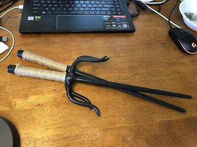 Vintage Sai Daggers Karate Real Martial Arts Set Solid Steel & Leather