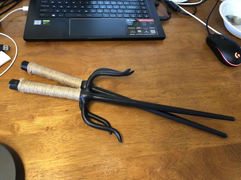 Vintage Sai Daggers Karate Real Martial Arts Set Solid Steel & Leather