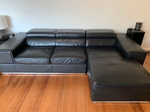 Black Leather Lounge Suite Couch   Chaise