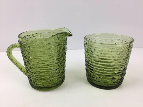 Anchor Hocking Soreno Avocado Green Glass Cream & Sugar (NO LID)