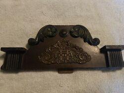 Antique Original Wood Mantle Wall Clock Crown Topper Finial 12