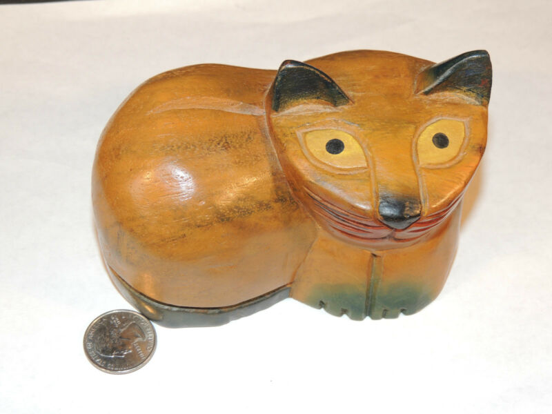 Wooden Solid Cat Carving (4239)