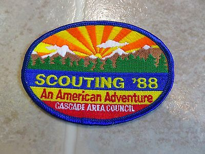 Vintage 1988 SCOUTING Cascade Area Embroidered PATCH Northwest 80s Boy Scout OR