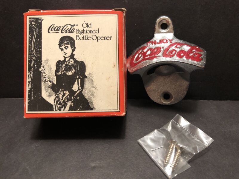 VINTAGE ENJOY COCA-COLA OLD FASHIONED WALL MOUNT BOTTLE OPENER W/ ORGINAL BOX