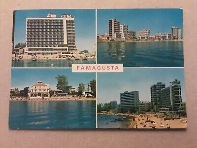 Postcard Famagusta Cyprus Hotels Beach posted 1973