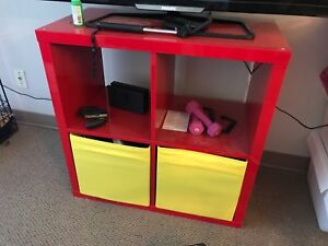 MOVING SALE IKEA red TV stand with two soft storage boxes