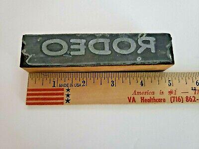 Antique Vintage Letterpress Wooden Printers Block Rodeo 4 34 X 1