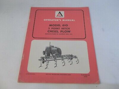 Allis-chalmers 3-point Hitch Chisel Plow Model 610 Operators Manual