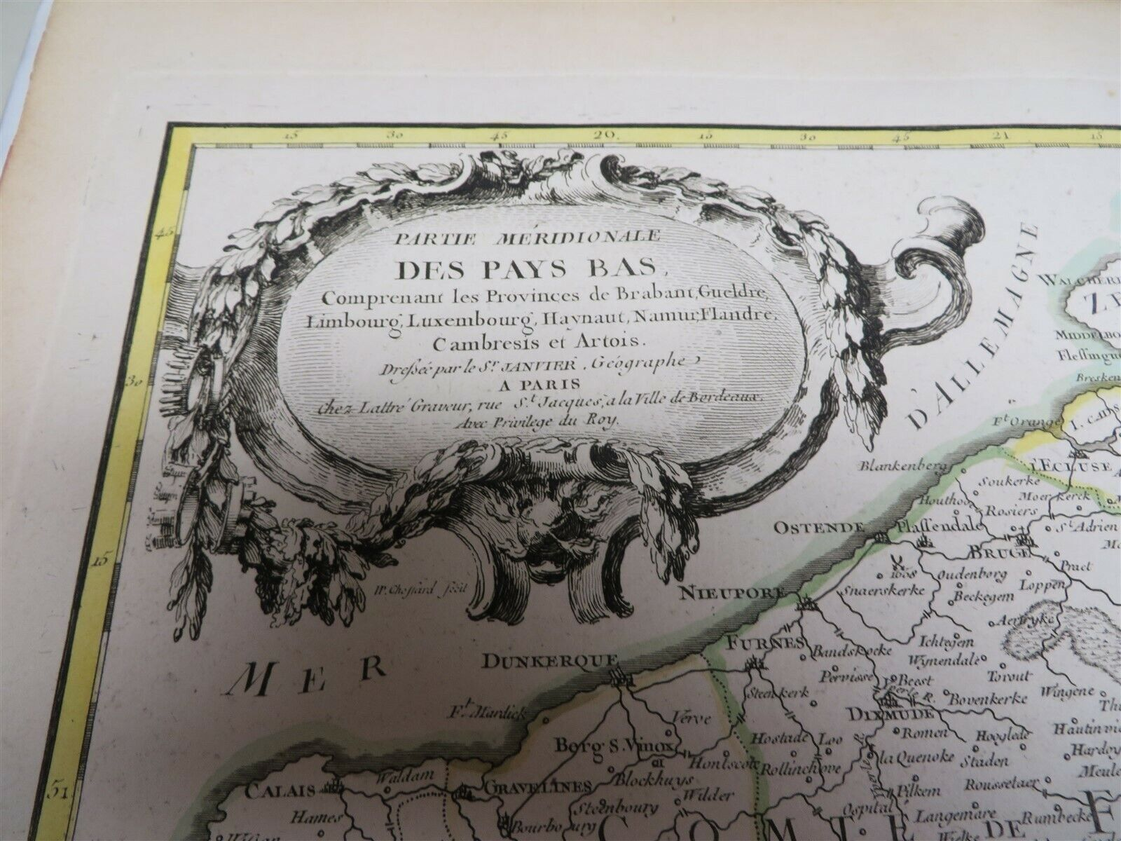 Original 1771 Hand Colored Map The Netherlands Brabant Luxembourg - $74.95