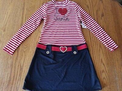 Nwt Girls Pink & Violet Christmas Santa Holiday Dress Red White Black XL 14 - Pink Santa Dress