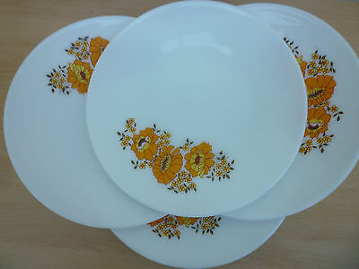 FOUR VINTAGE/RETRO PYREX/JAJ MARIGOLD PATTERN DINNER PLATES