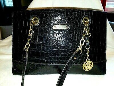 Anne Klein Black Handbag Chain Handles Charm multi pocket & divider