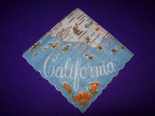 VINTAGE 1950 UNUSED MAP CALIFORNIA WHITE W/ FLOWERS FLORAL  HANKIE HANDKERCHIEF
