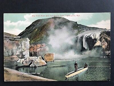 Postcard Thermopolis WY - Two Men in Boat - Big Horn River and Hot Spring Falls