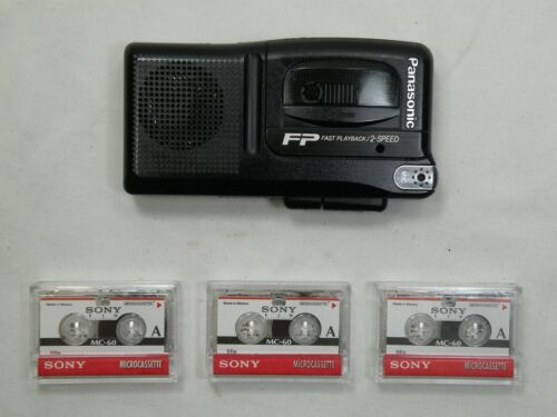 Panasonic RN-202, Two Speed Microcassette Recorder w/ 3 Sony Microcassette