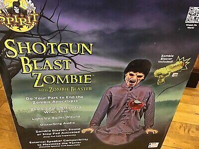 SOLD OUT Spirit Halloween Shotgun Blast Zombie w Blaster Gun Animated Prop Box