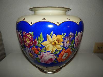 Hutschenreuther Dresden Handmalerei große antike bauchige Vase BlumendekorSilber