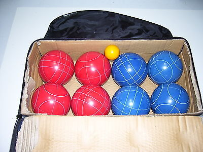 - HALEX RED BLUE & YELLOW BOCCE BALL SET in CARRYING BAG 212-26200 NEXT TO MINT