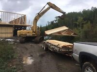 Excavator and dozer with dump trailer for hire.