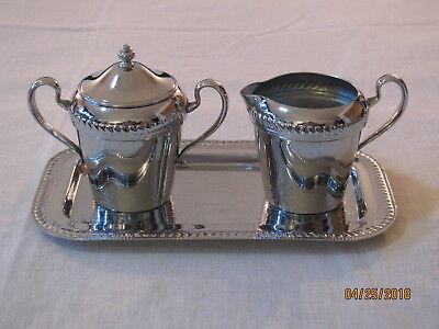 Vtg Mid Century Cromwell Silver Mfg Chromium Creamer/Covered Sugar/Tray Set