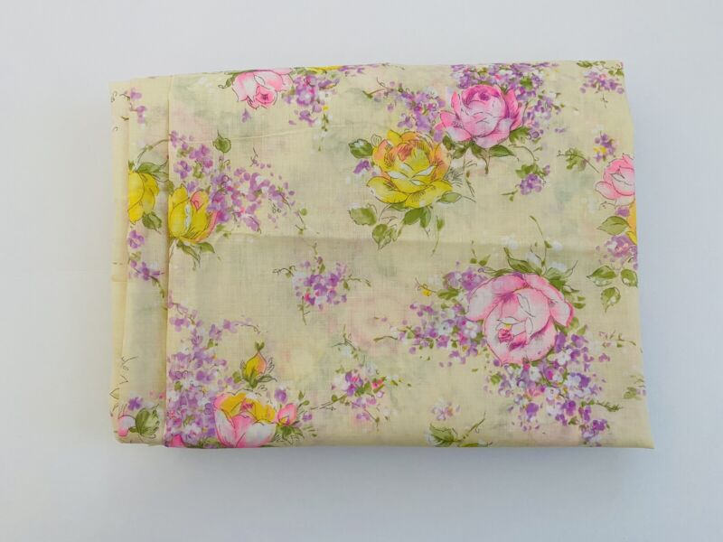 Vintage Pink/yellow/purple/ivory Floral Fabric