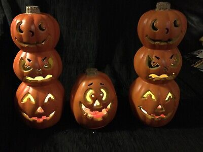 Battery Operated Paper Halloween Lanterns (3 Lighted Jack-O-Lantern Pumpkins Battery Operated Paper Magic Halloween)