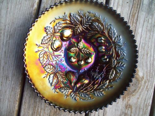 "Antique Northwood ""Three Fruits"" Amethyst Carnival Glass Plate - Marked"