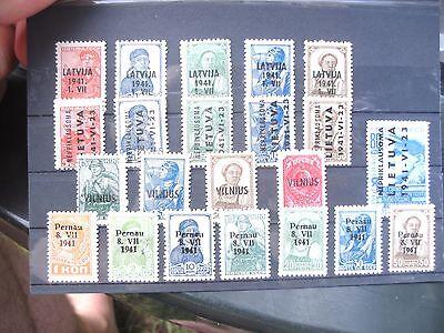 Sammlung WKII ** Russland Überdrucksätze postfr. Lettland Wilna Pernau Litauen