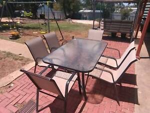 6 seater outdoor Glass dinning table
