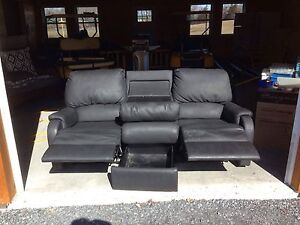 Black media recliner sofa