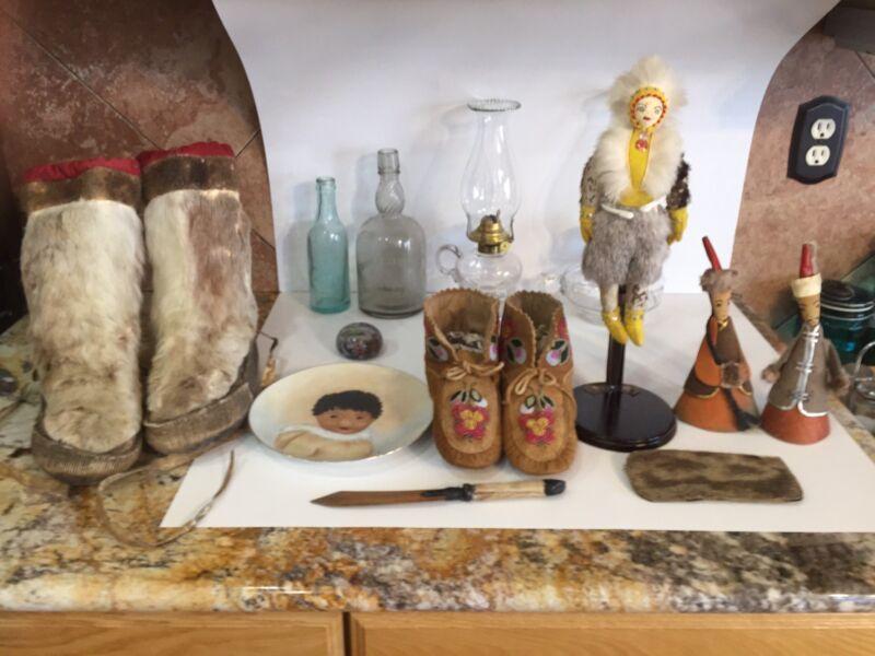Antique Canadian Moccasins Cree Tribe Glass Beaded Folk Art Vintage Moose Hide