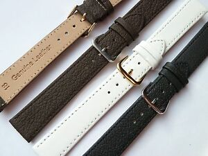 Black-Brown-White-High-Quality-Soft-Leather-Watch-Strap-8-10-12-14-16-18-20-22mm