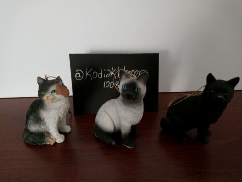 Lot of 3 Calico Siamese & Black Cat Kitten Christmas Ornaments Home Elements
