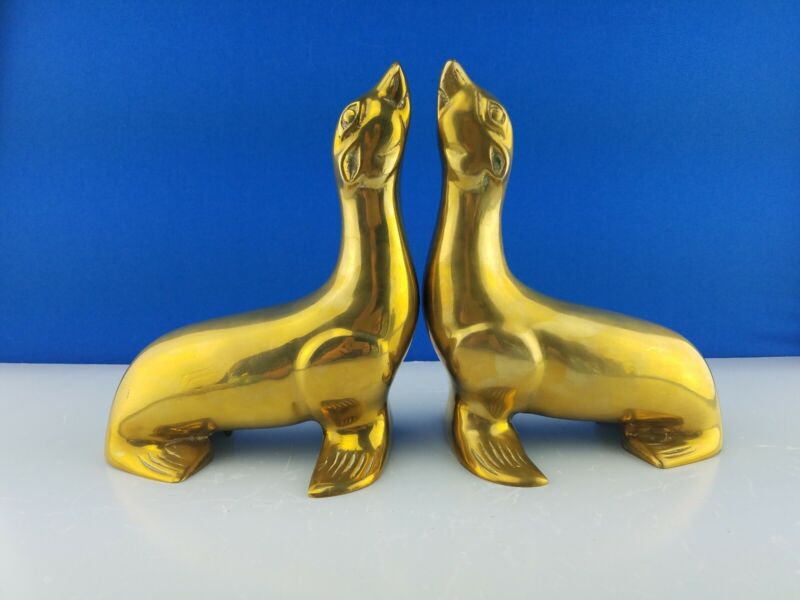 Pair Of Vintage Brass Metal Seal Bookends Nautical Sea Life Animal Sea Lion