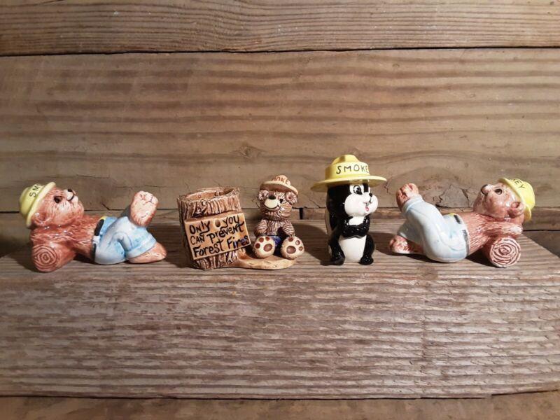 Smokey Bear Figurine Collection Resting Toothpick Holder Skunk Felt 4 Piece Set