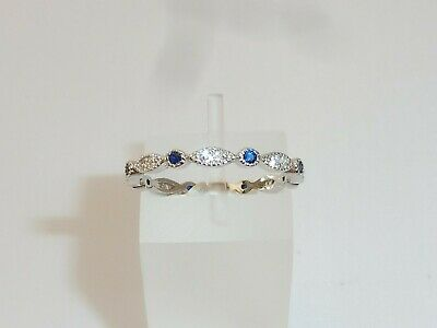 Ladies 925 Sterling Silver Brilliant Cut Blue and White Sapphire Eternity Ring ()