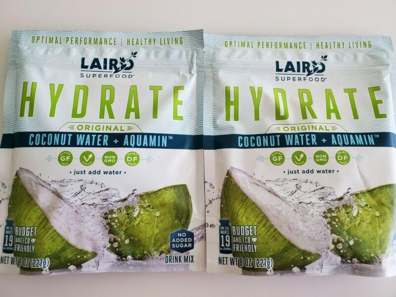 2 Laird Superfood 8 oz HYDRATE ORIGINAL Coconut Water Paleo Vegan DF GF Non GMO