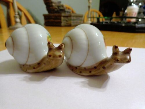 CERAMIC HAND CRAFTED SNAIL SALT AND PEPPER SHAKERS- PLUM, STRAWBERRY