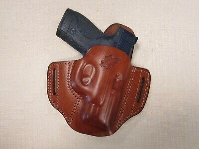 S&W M&P Shield 9mm & 40 cal. pancake holster formed BROWN leather right hand, used for sale  Shipping to Canada