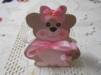 Geschenk-taschen Für Mädchen (1 Geschenkverpackung Bärchen Zur Geburt Mädchen für Schmuck Geld 60x40x120mm)