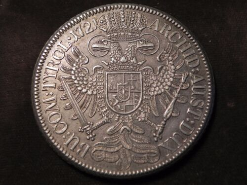 1721  Holy Roman Emperor Charles VI Silver Thaler - Hall Mint 1721 -   KM1594