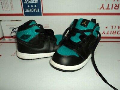 Nike Air Jordan Retro 1 Green/Black/White Sneakers Shoes Childrens Size 6C