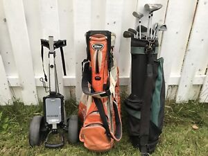 Golf clubs, two bags and a cart