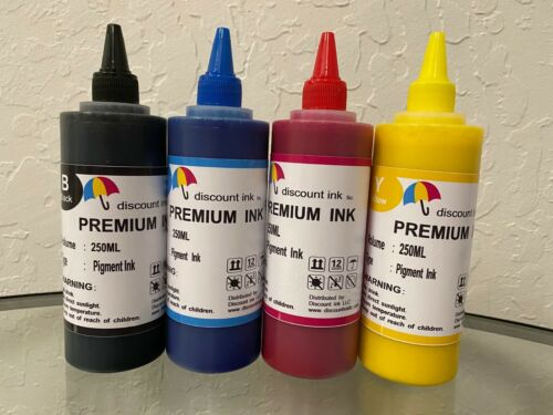 4x250ml Pigment Premium Refill Bulk Ink for All HP Canon Epson Brother Printers