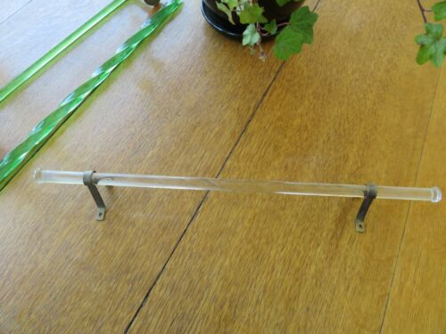 "vintage Clear Glass Towel Bar Rod - 18"" long"