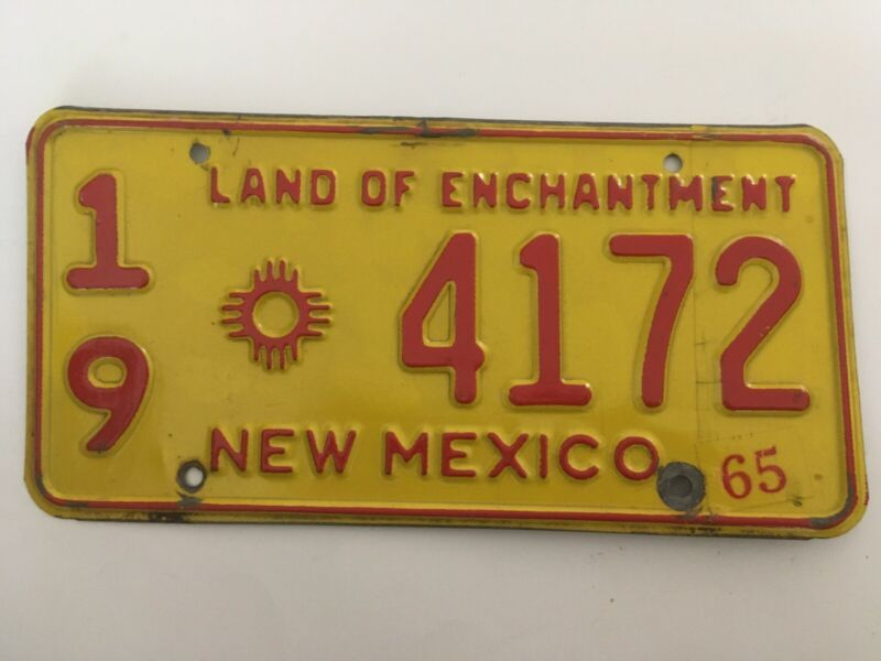 1965 New Mexico License Plate Natural Sticker