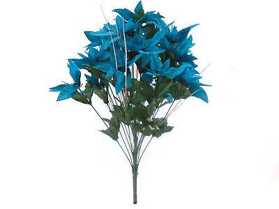 TURQUOISE Christmas Poinsettia Bush 24 Artificial Silk Flowers 24