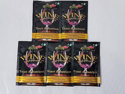 Wine Yeast and Nutrient x 5 packs - Wine Making - Home Brewing - Bulldog yeast
