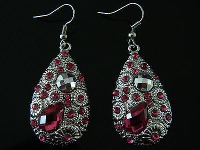 Kostüm Schmuck Vintage Rosa Kristall Tränentropfenförmig Tropfen-Ohrringe - Vintage Kostüm Schmuck Ohrringe