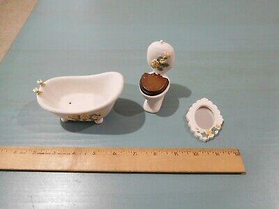 DOLLHOUSE FURNITURE - 3 PIECE BATHROOM SET - BATHTUB, TOILET, WALL MIRROR